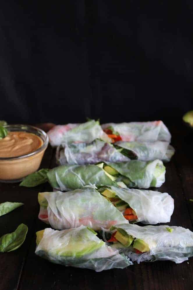 Fresh Summer Rolls with Basil and Avocado