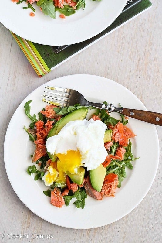 Poached Eggs Over Avocado Smoked Salmon