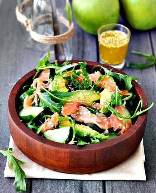 Salmon, Avocado and Rocket Arugula Salad