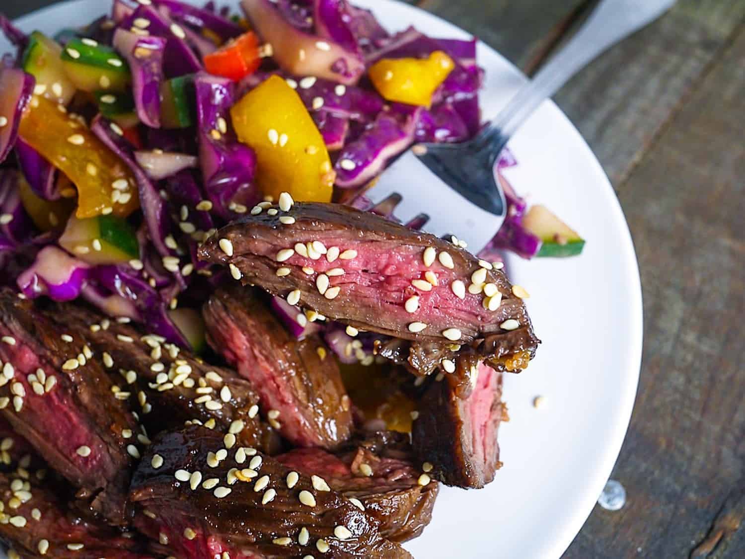 Skirt Steak with Asian Slaw