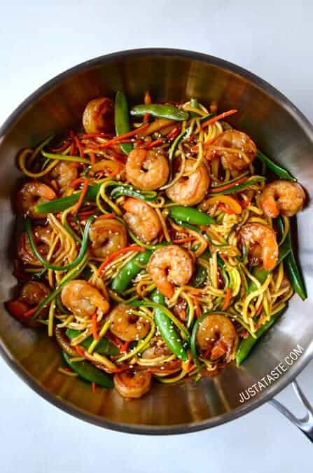 Asian Zucchini Noodle Stir Fry Shrimp
