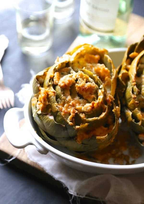 Buffalo Chicken Stuffed Artichokes