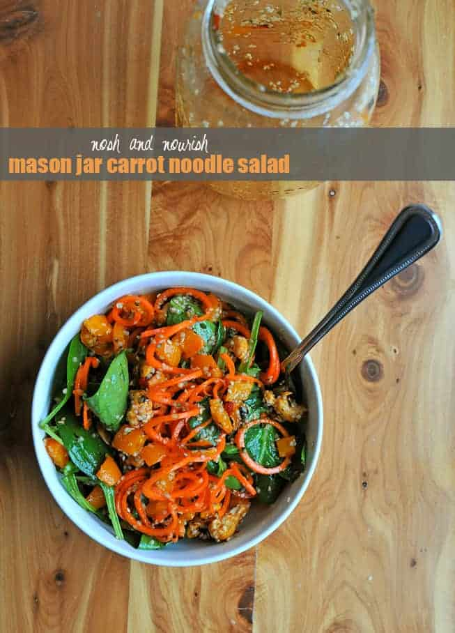 Mason Jar Carrot Noodle Salad with Sweet Chili Vinaigrette