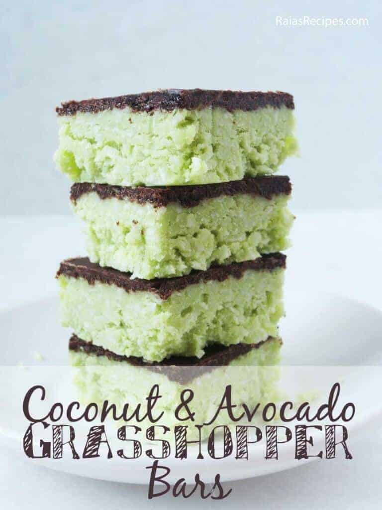 No-Bake Coconut Avocado Grasshopper Bars