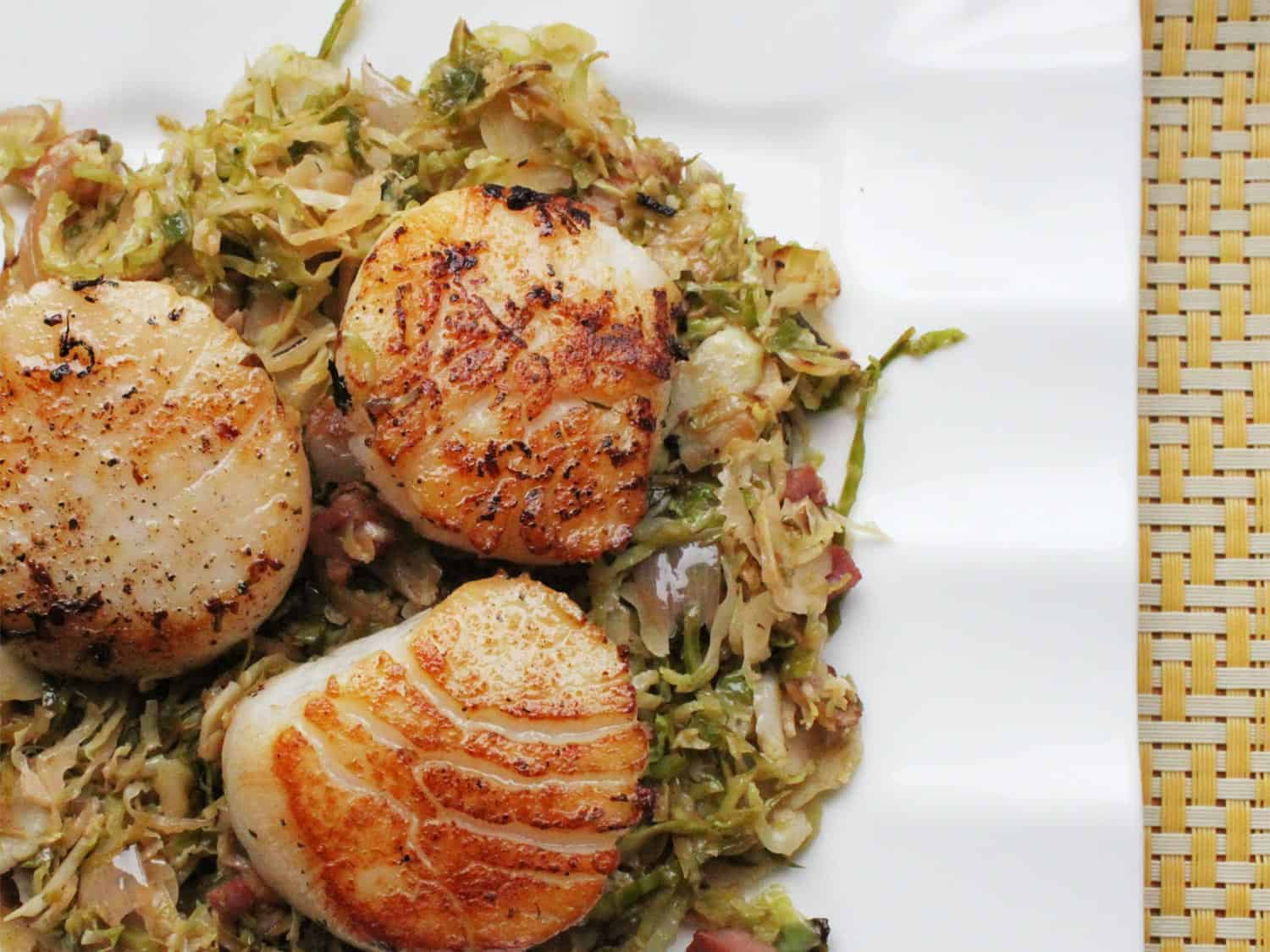 Seared Scallops with Pancetta and Brussel Sprouts