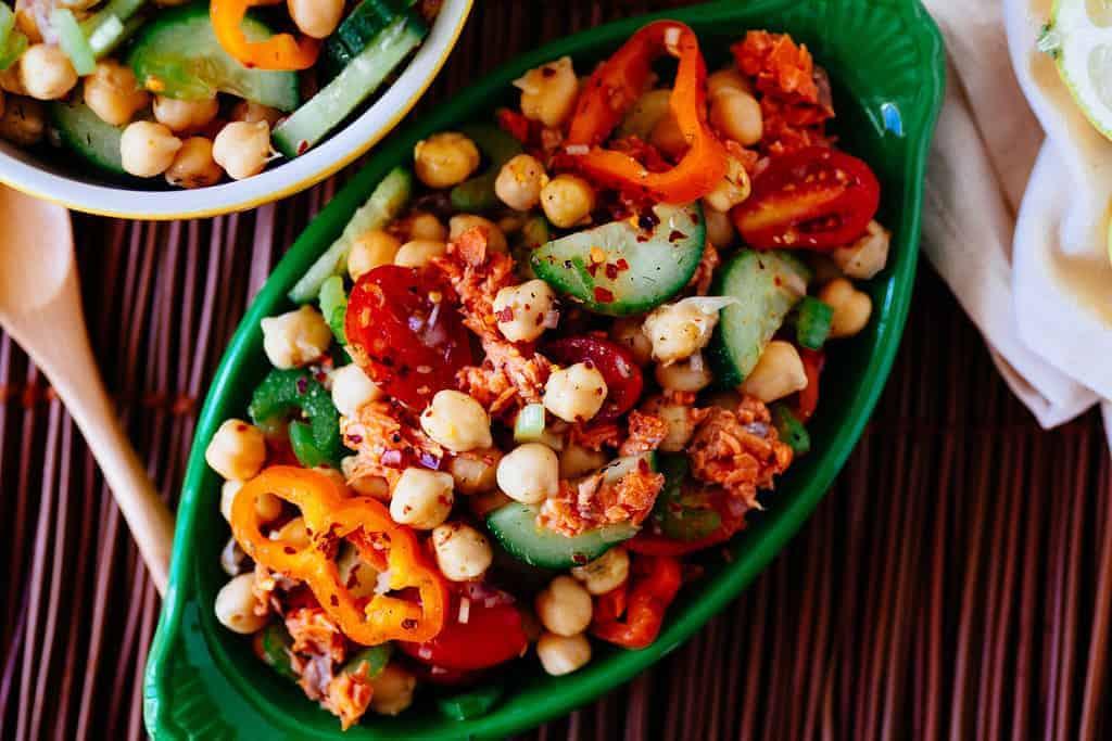 Salade de pois chiches au saumon