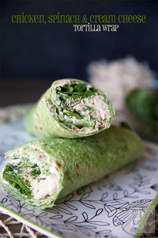 Chicken, Spinach and Cream Cheese Tortilla Wrap