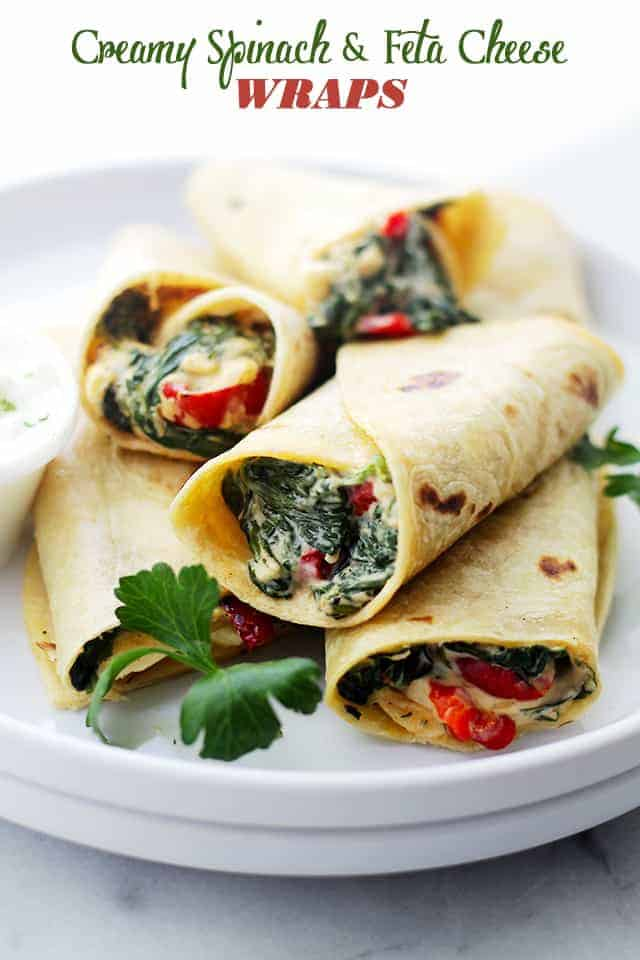 Creamy Spinach And Feta Cheese Tortilla Wraps