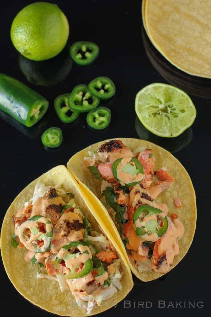 Salmon Tacos With Cilantro-Lime Slaw