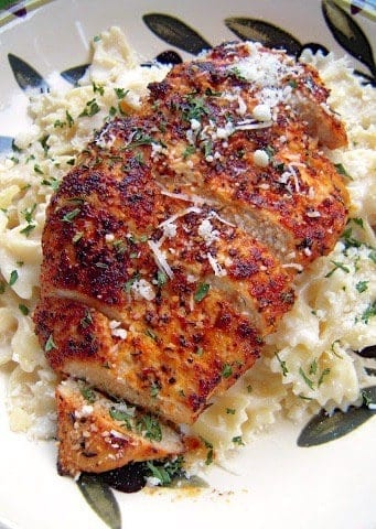 Blackened Chicken With Roasted Garlic Alfredo