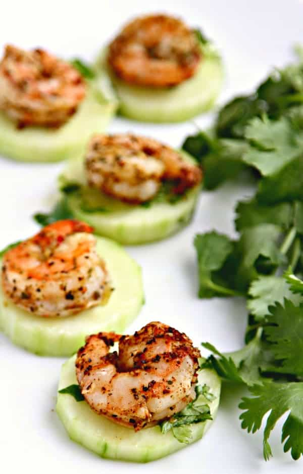 Blackened Shrimp and Crispy Chilled Cucumbers