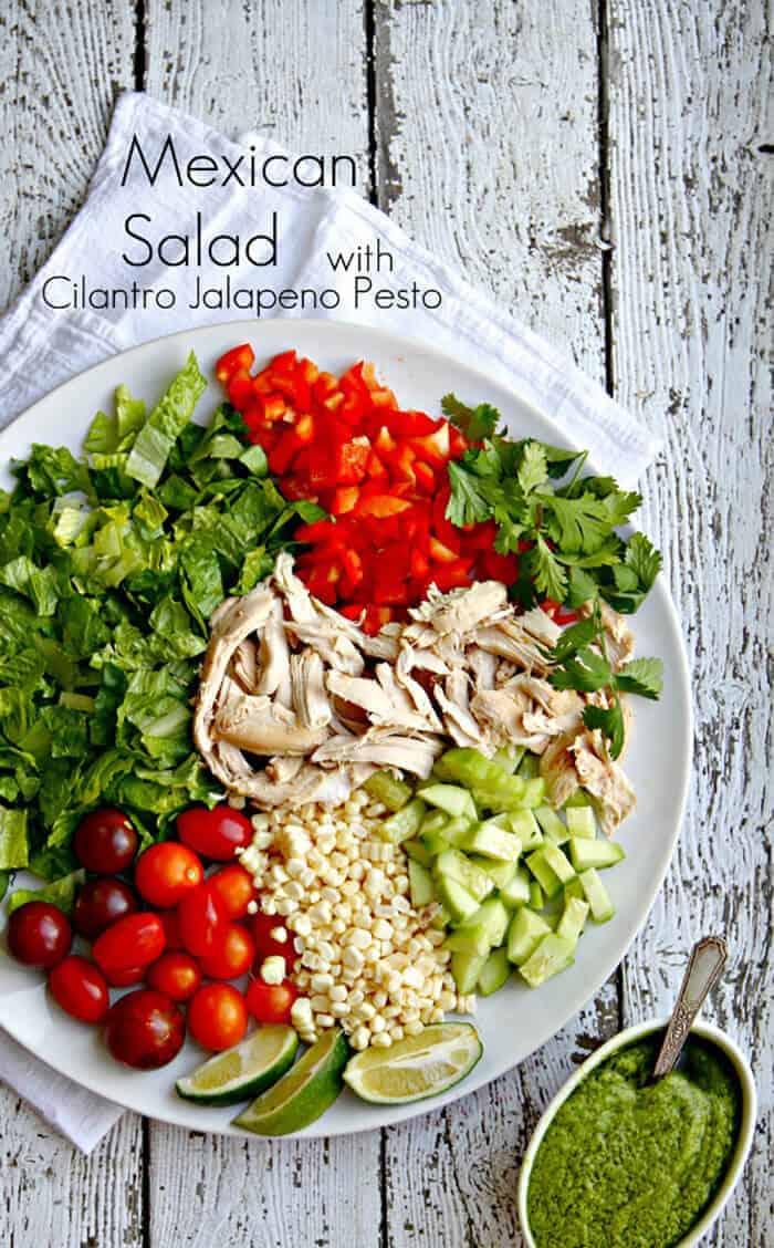 Mexican Salad with Cilantro Jalapeño Pesto