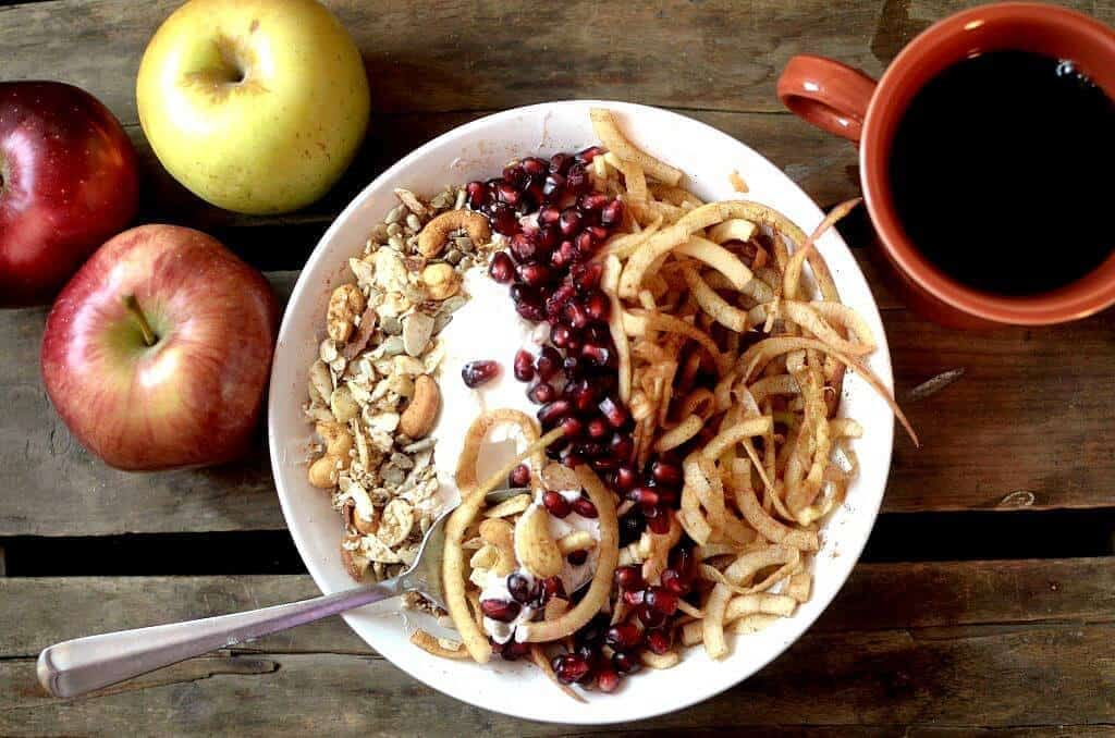 Cinnamon Apple Noodle Breakfast Bowl With Candied Nuts
