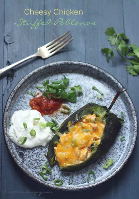 Cheese Chicken Stuffed Poblanos