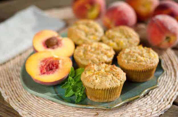 Fresh Peach Paleo Muffins