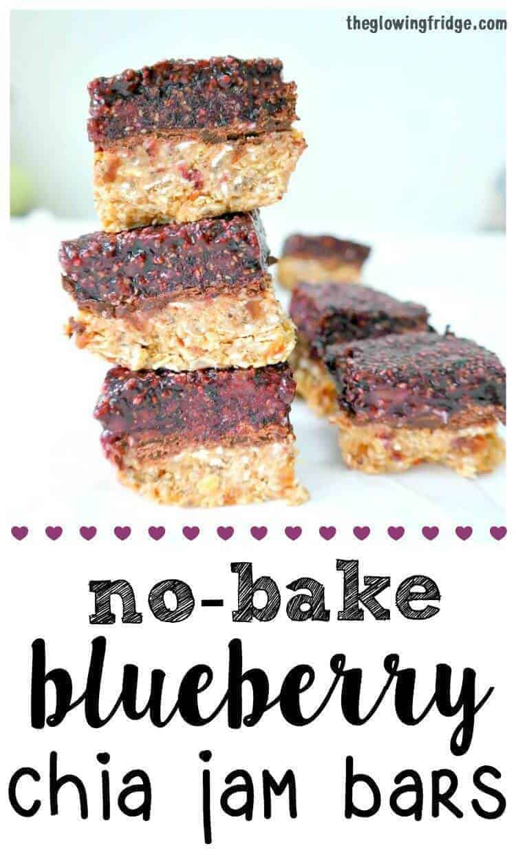 No Bake Blueberry Chia Jam Bars