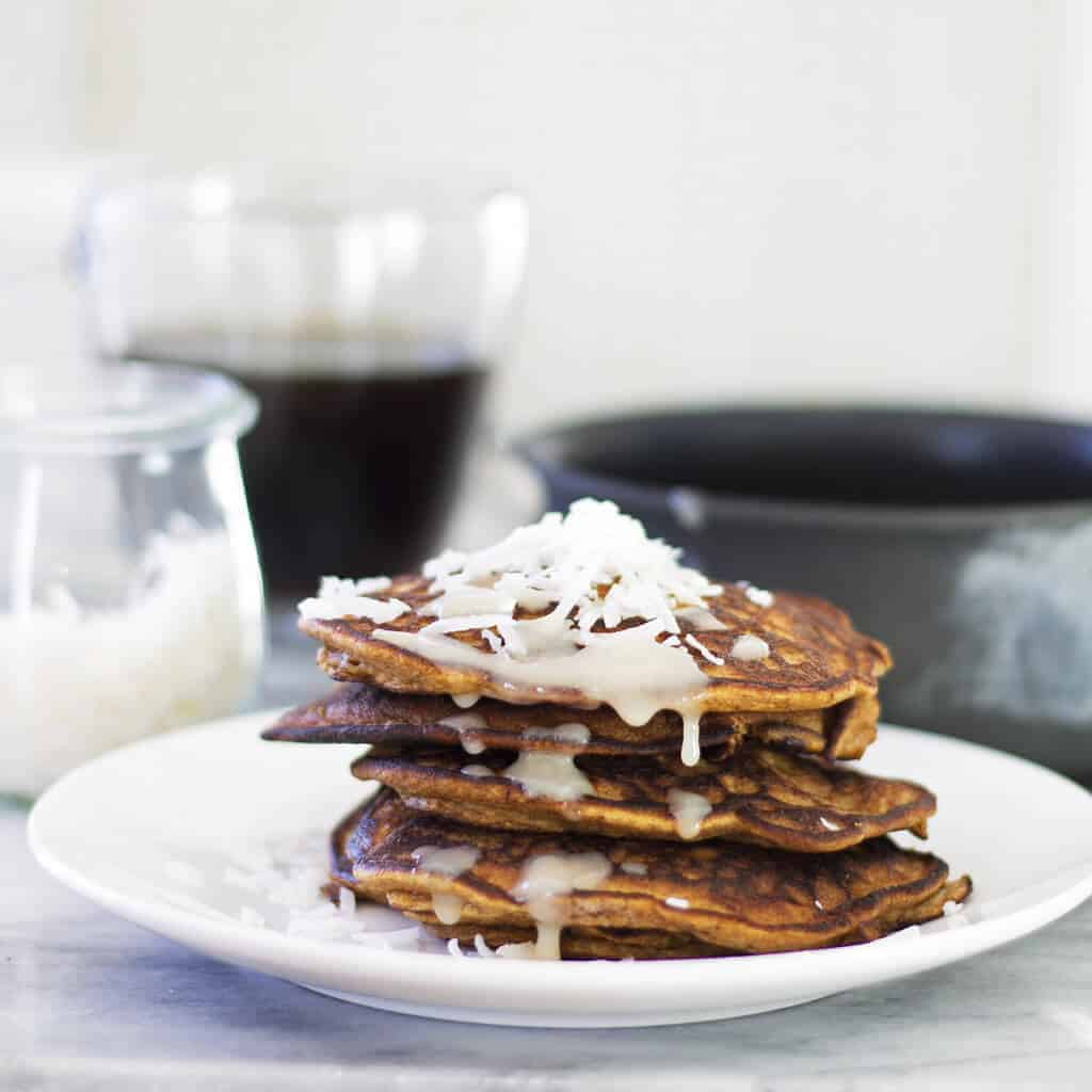 Pumpkin Pancakes With Maple Coconut Butter Drizzle