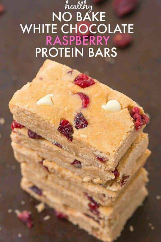 Healthy No Bake White Chocolate Raspberry Protein Bars
