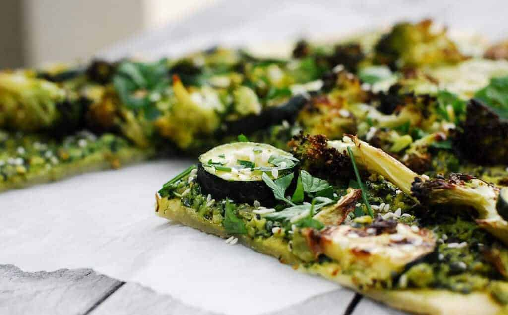 Gluten Free Pesto Pizza – Included Gluten Free Flat Bread Recipe