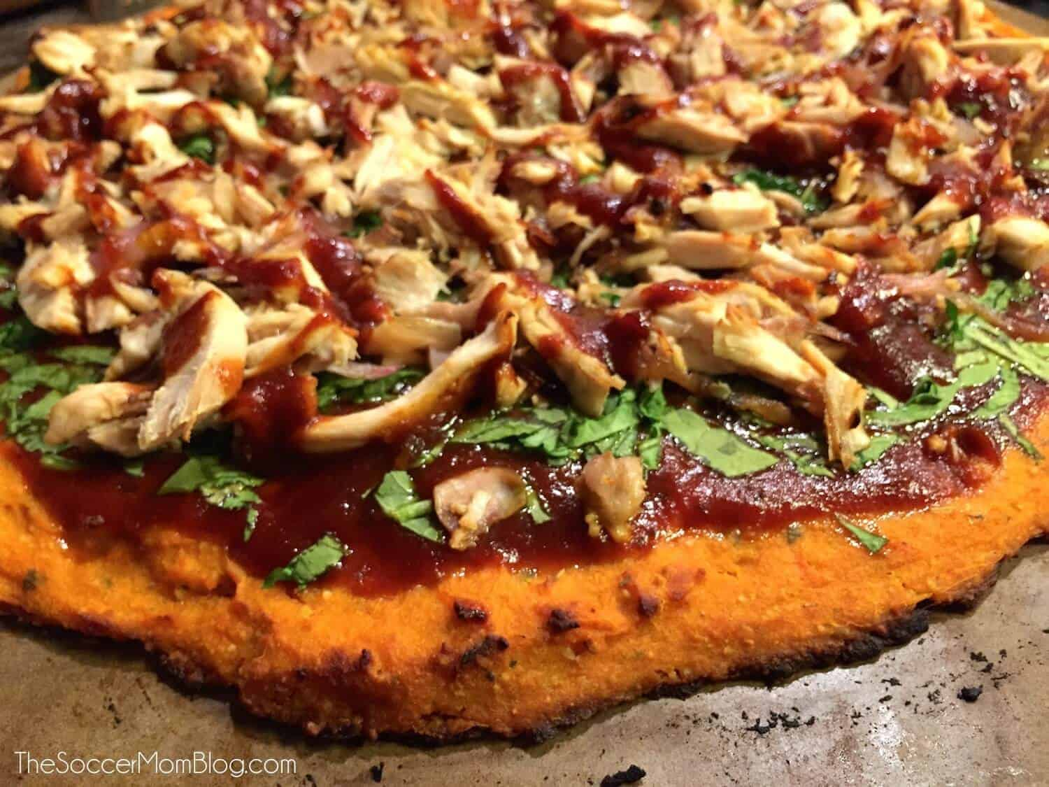 Healthy Barbeque Chicken Pizza with Sweet Potato Crust