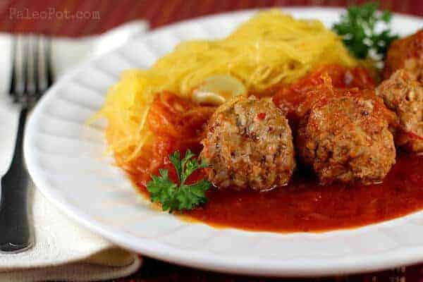 Paleo Stupid-Easy Spaghetti Squash & Meatballs
