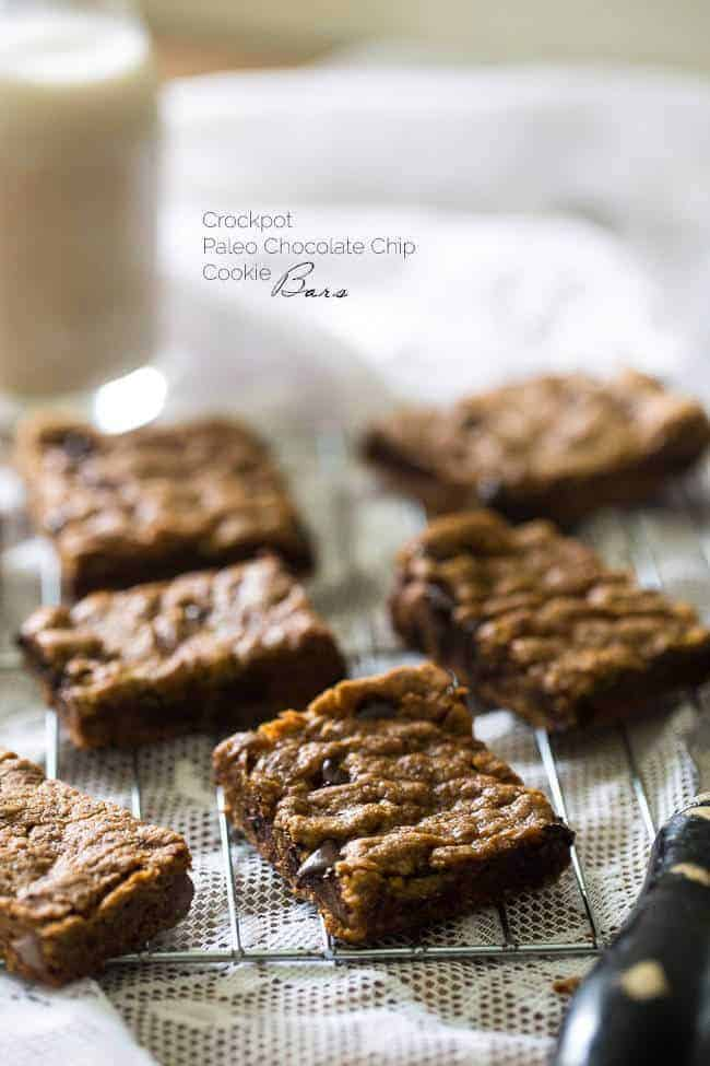 Paleo Crock Pot Chocolate Chip Cookie Bars