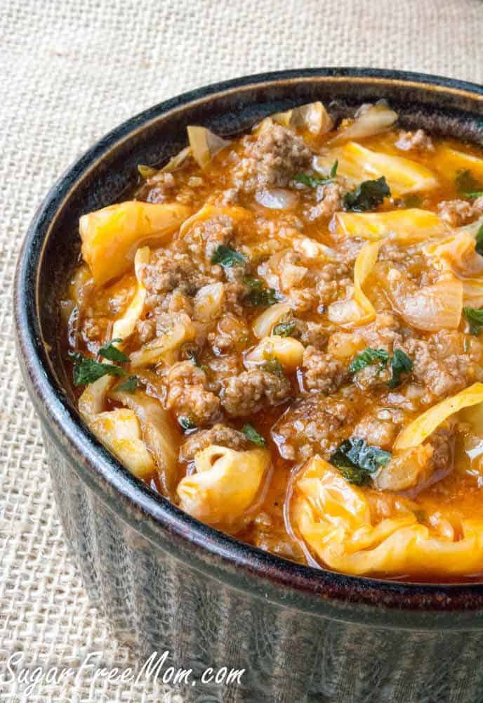 Paleo Crock Pot Low Carb Un-Stuffed Cabbage Roll Soup