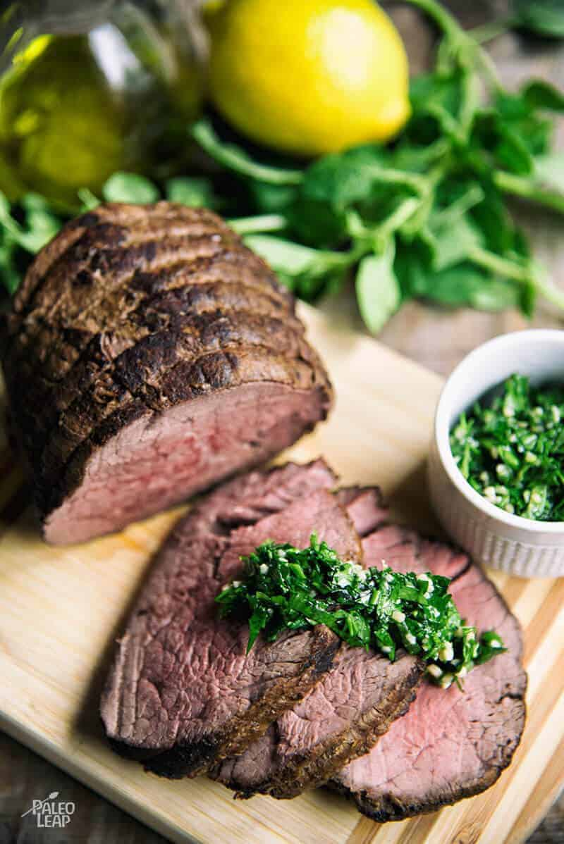 Balsamic Dijon-Glazed Beef Tenderloin With Herb Sauce