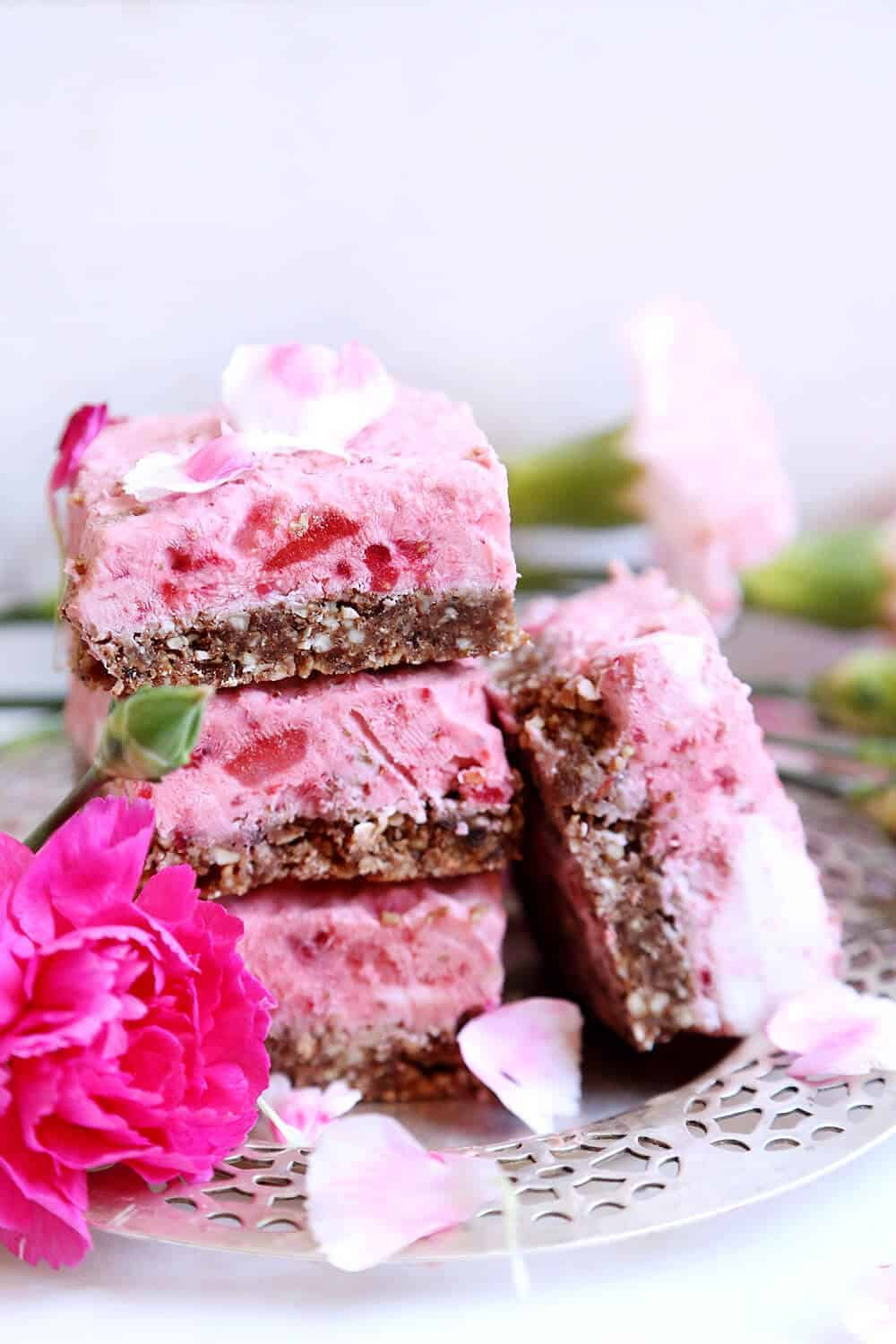 Strawberry and Raspberry Ice Cream Bars