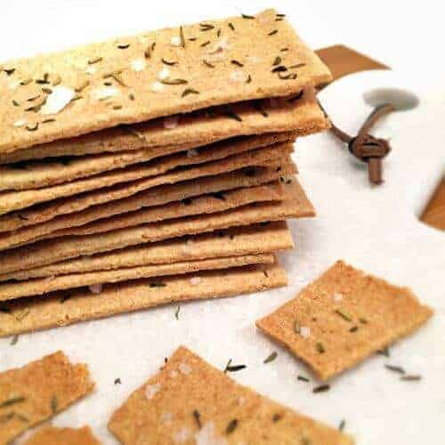 Paleo Onion Crackers with Thyme, Rosemary, and Sea Salt