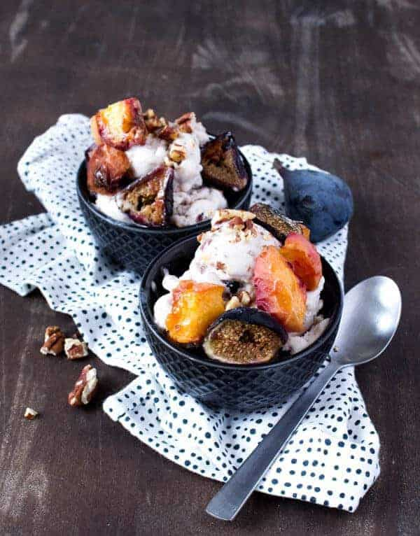 Vegan Coconut Ice Cream with Roasted Peach, Fig, and Pecan