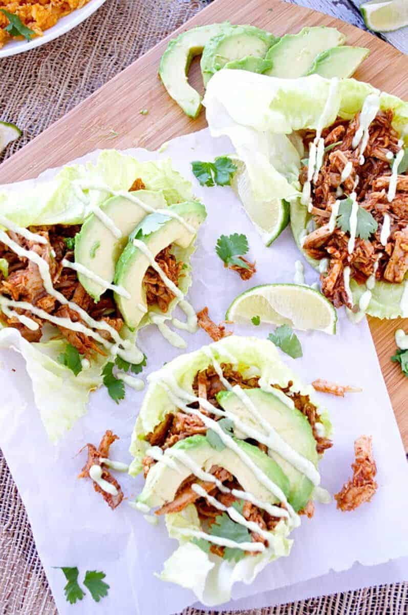 Chipotle Pulled Pork Lettuce Wraps with Avocado Aioli
