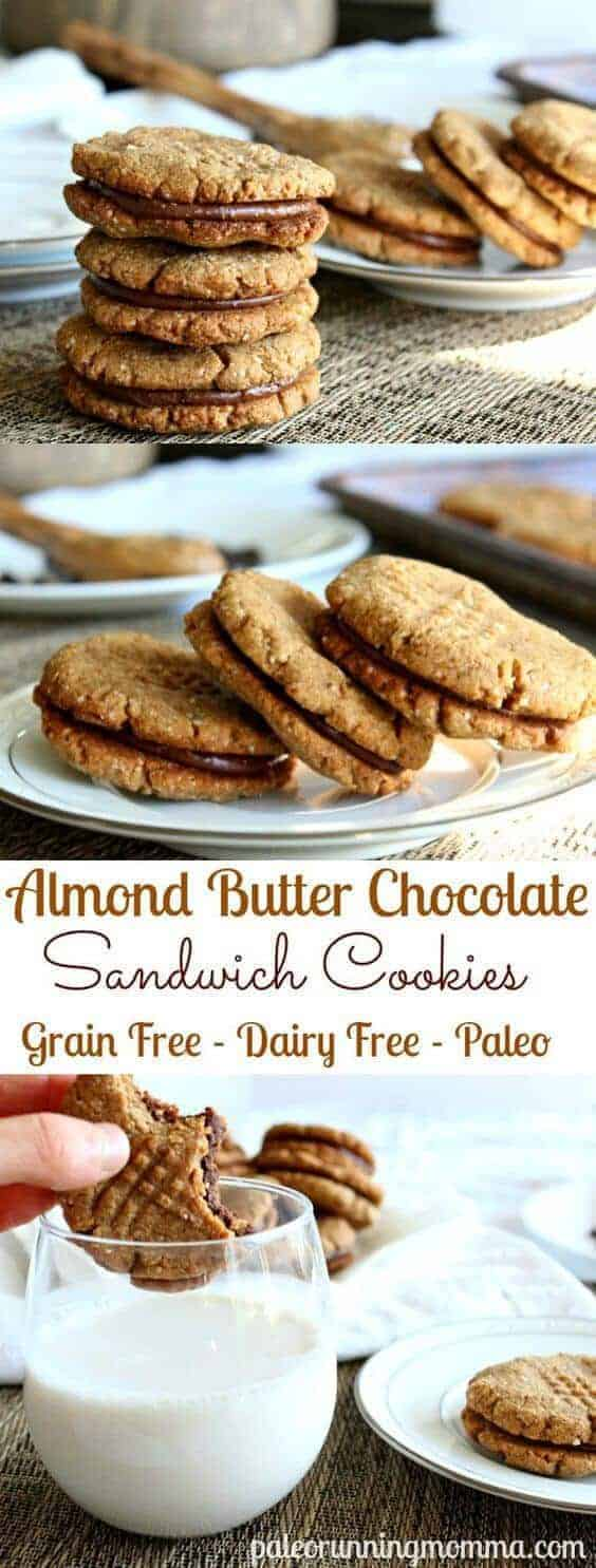 Paleo Chewy Chocolate Almond Butter Sandwich Cookies
