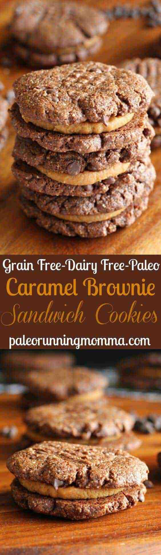 Paleo Caramel Brownie Sandwich Cookies
