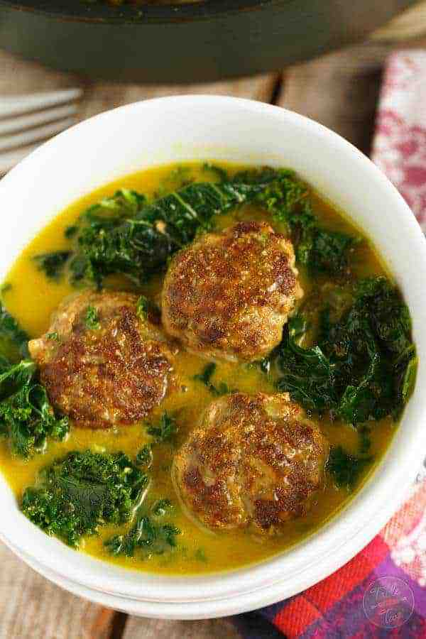 Curry Meat Balls and Kale Stew