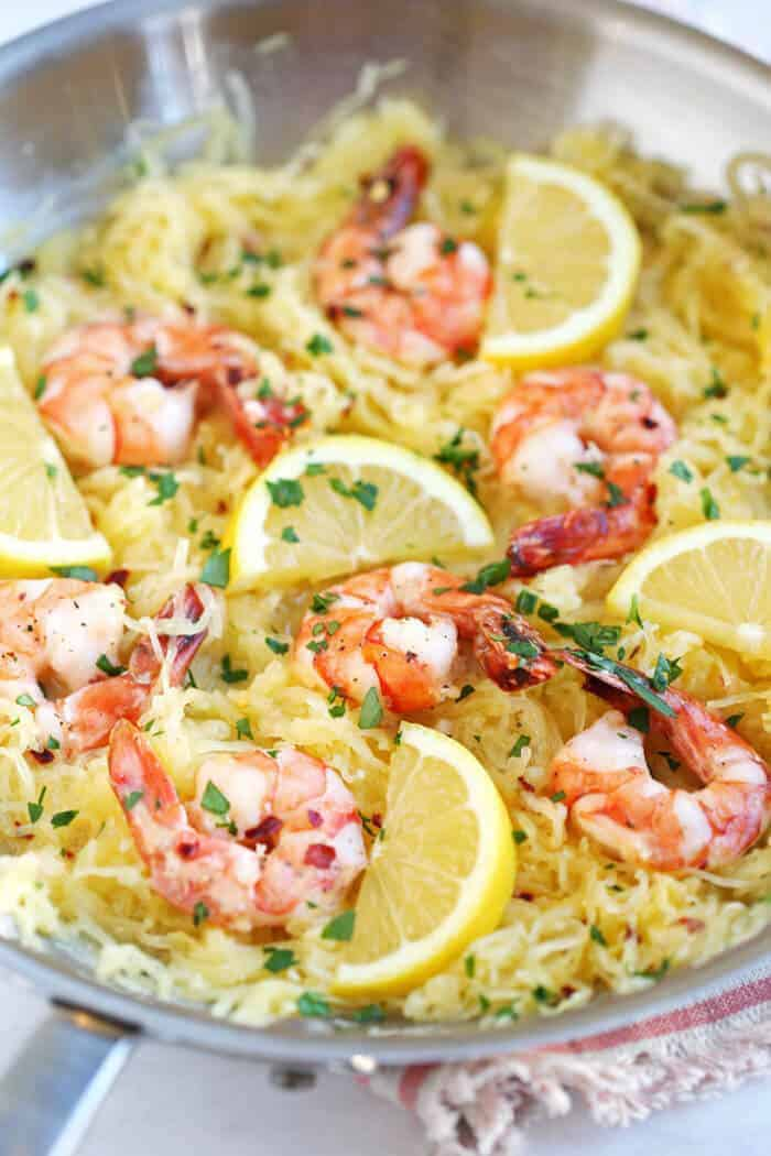 Lemon and Herb Spaghetti Squash with Roasted Shrimp