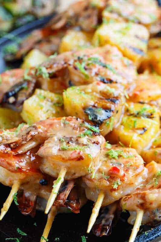Grilled Coconut and Pineapple Shrimp Skewers