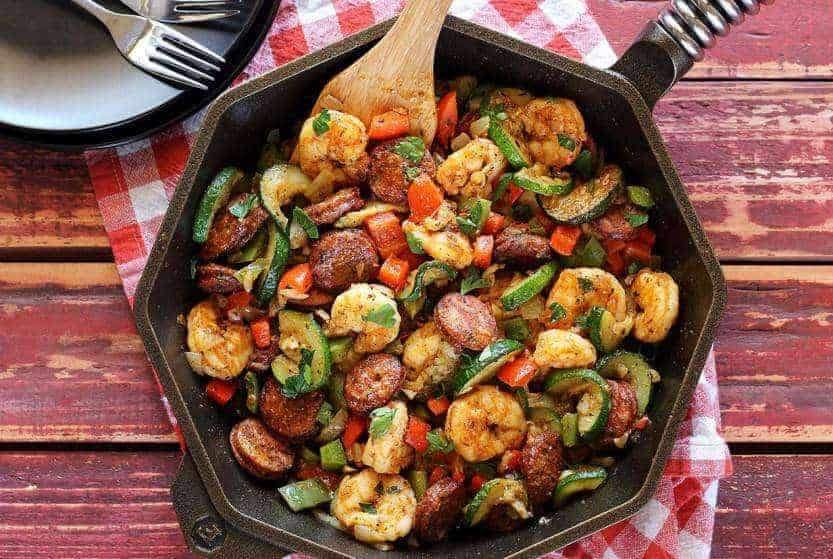 20 Minute Shrimp Sausage Paleo Skillet Meal