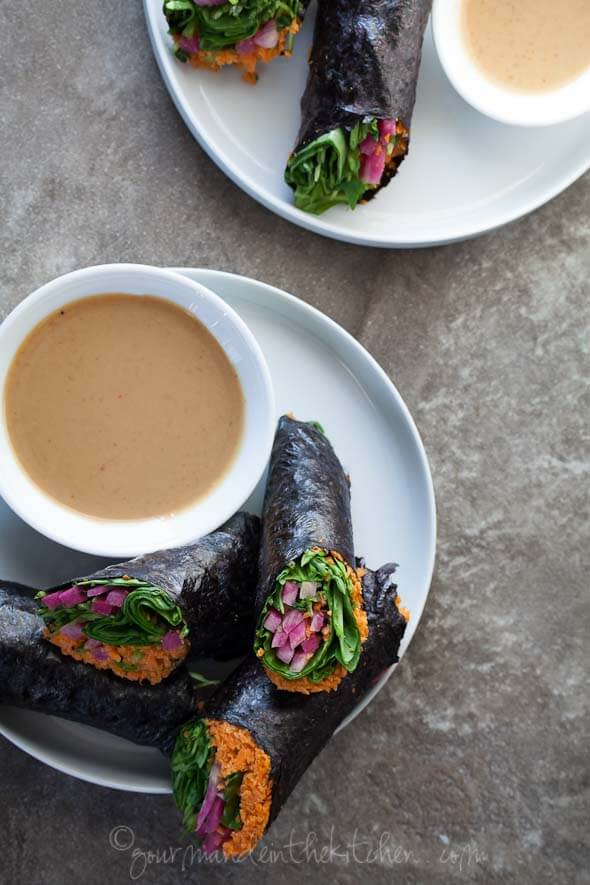 Vegetable Nori Wraps with Sunflower Butter Dipping Sauce