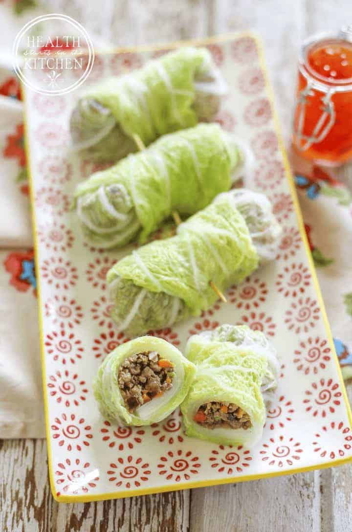 Napa Cabbage Wrapped Shiitake Pork Rolls