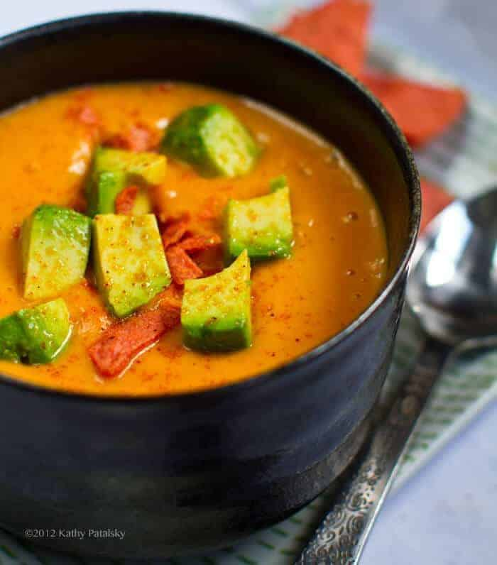 Sweet Potato Soup (in a Flash!) Avocado on Top
