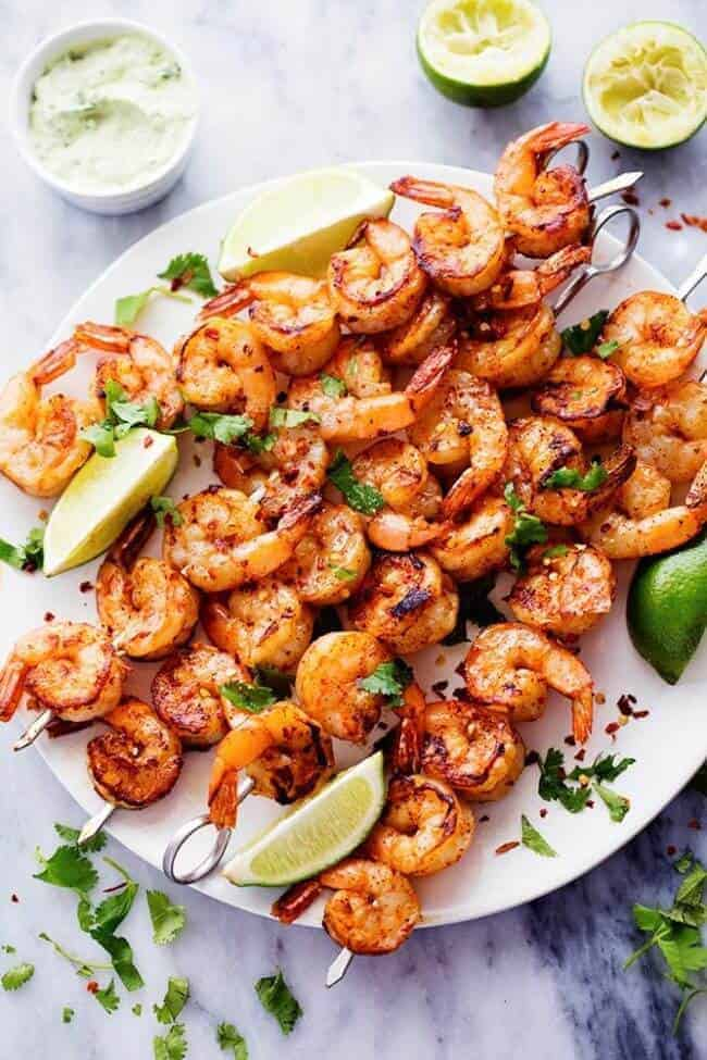 Spicy Lime Shrimp with Creamy Avocado Cilantro Sauce