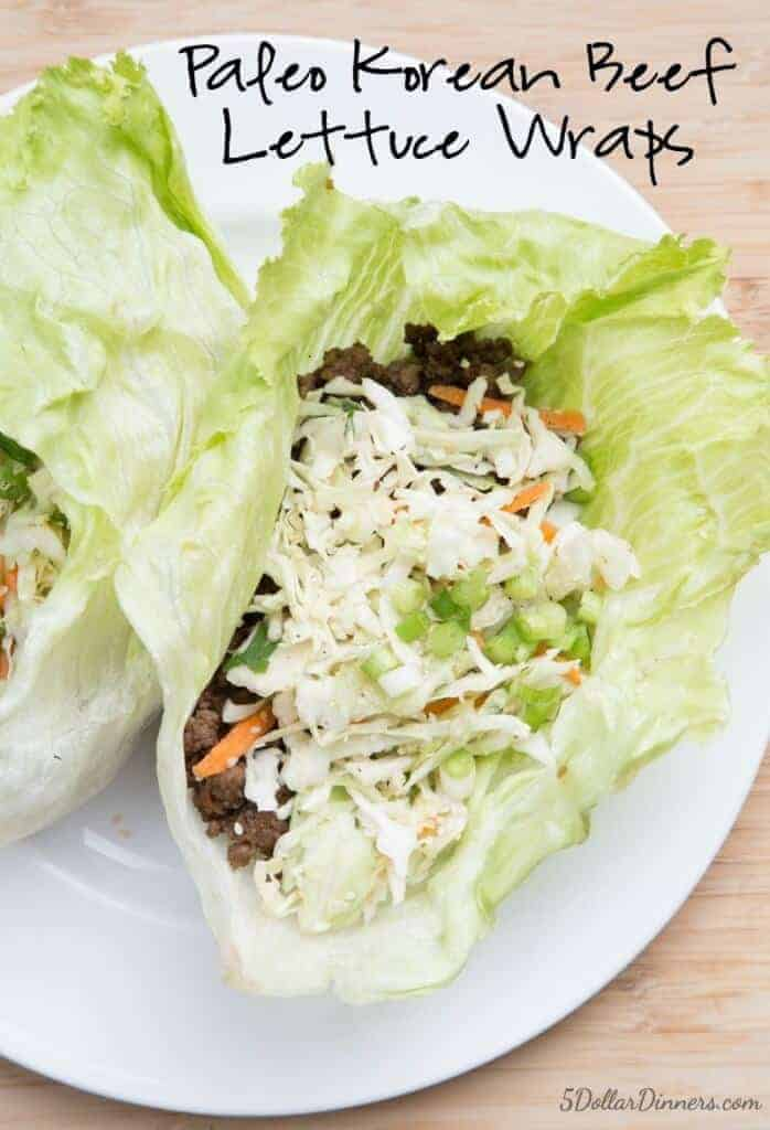 Korean Beef Lettuce Wraps with Slaw