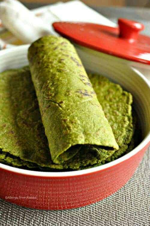 Gluten Free & Vegan Spinach Tortillas