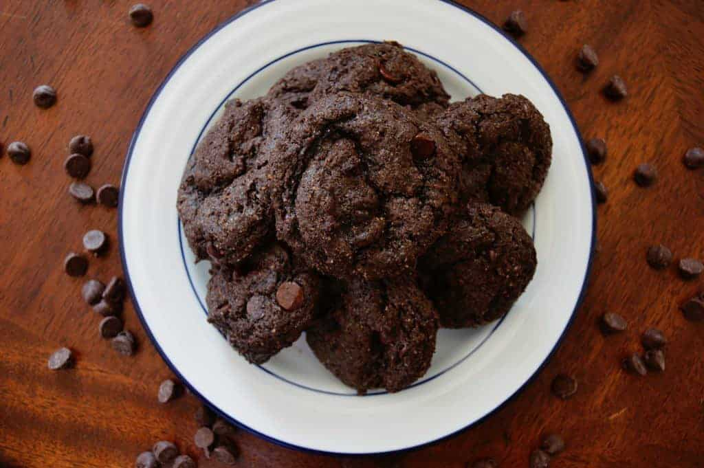 Delicious low carb double chocolate chip cookie recipe. #lowcarb #chocolate #chocolatechip #cookie