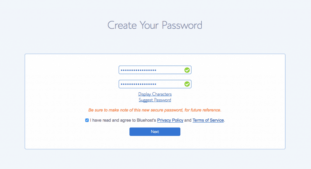 bluehost password wordpress